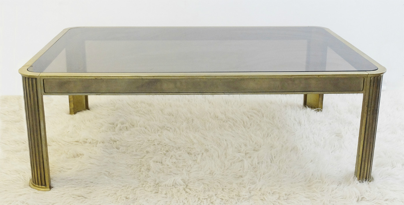 Brass And Smoked Glass Coffee Table Designed By Peter