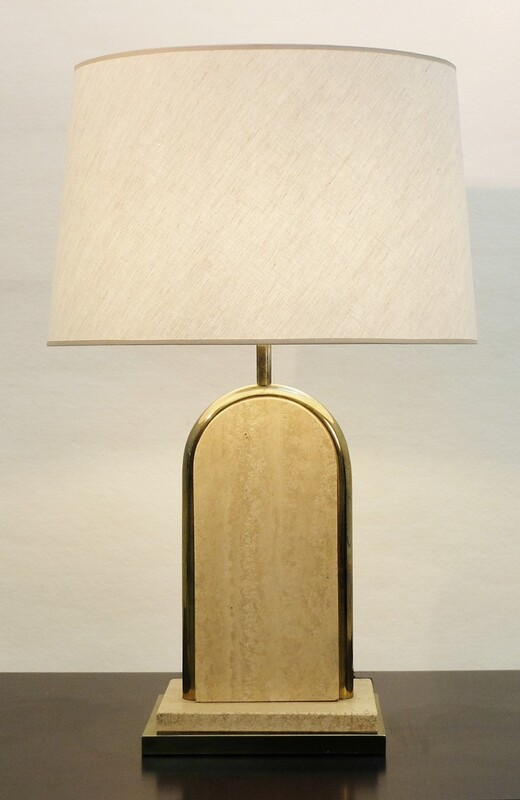 brass and travertine table lamp