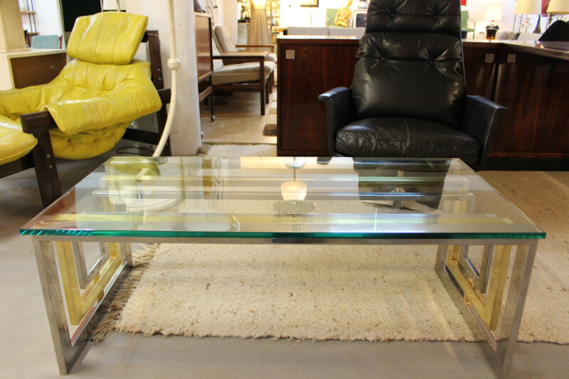 Brass chrome and glass coffee table