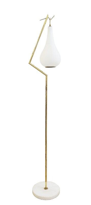 Brass Floor Lamp With White Opaline drop Glass
