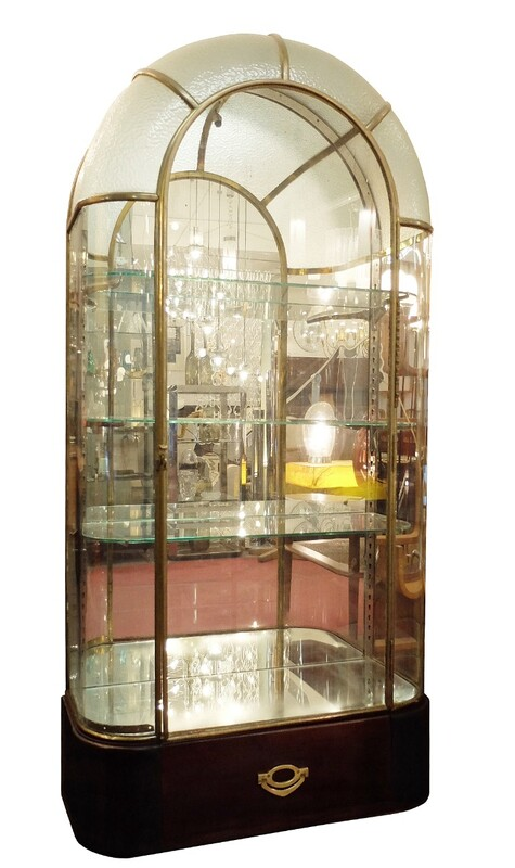 Brass Glass and Mirror Showcase - Léna - Paris