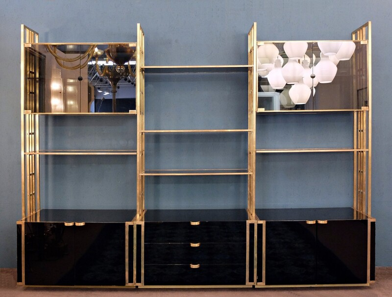 Brass, Lacquered Wood and smoked glass Shelving Unit