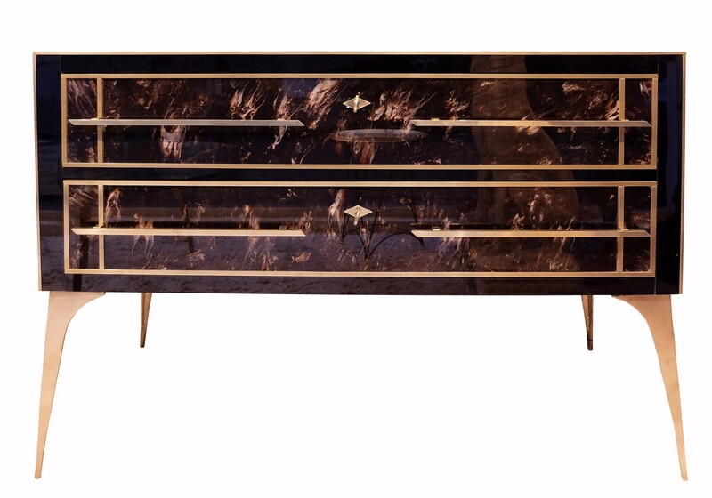 Brass, Marbled & black Glass Chest of Drawers - Italy