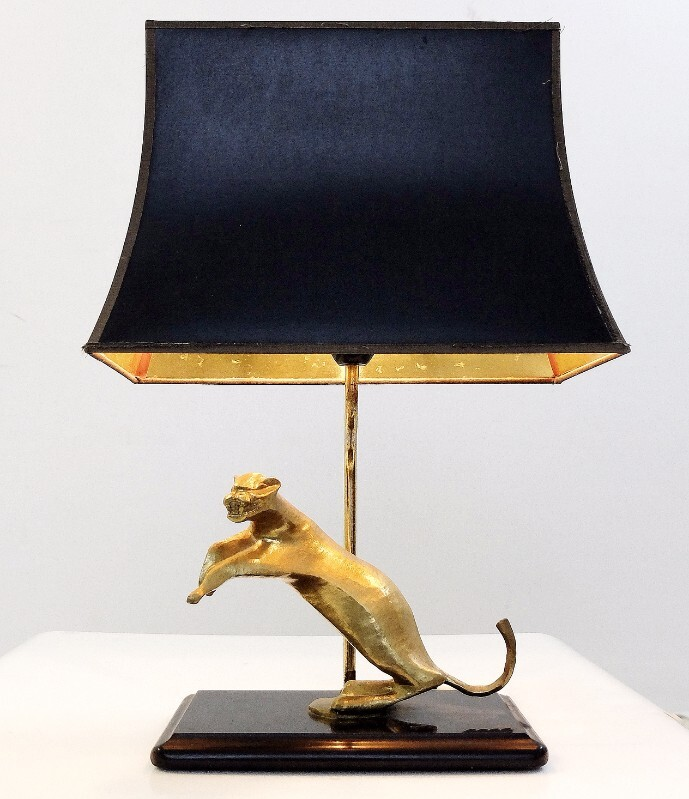 brass panther table lamp - black marble base