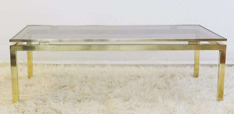 Brass & Smoked Glass Coffee Table - Guy Lefèvre