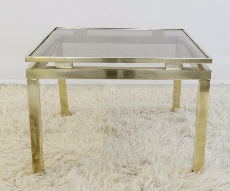Brass & Smoked Glass End Table - Guy Lefèvre