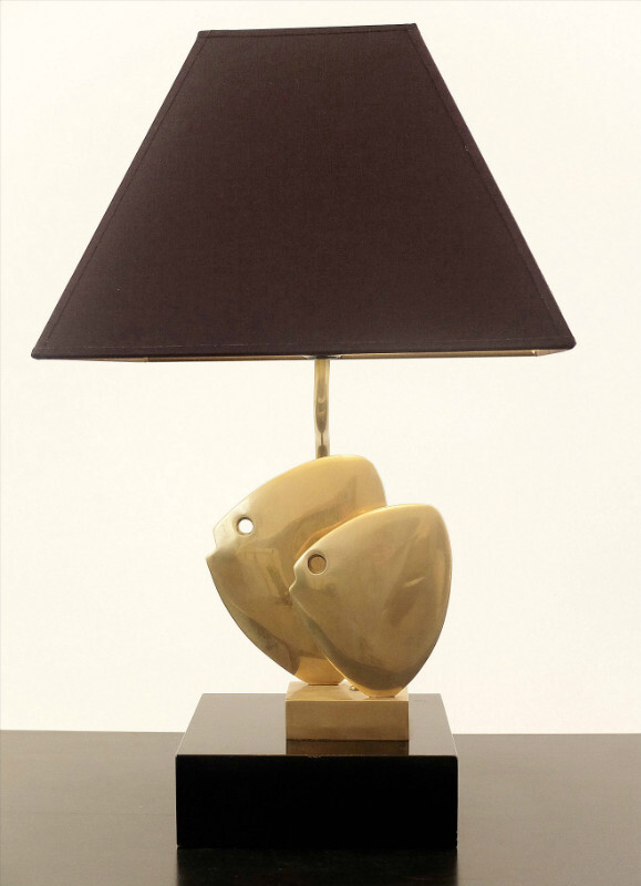 Brass Table Lamp Fish - Black/Gold Lampshade