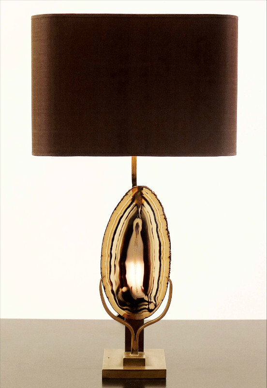 Brass Table Lamp with Agathe Disc -  Brown/Gold Lampshade
