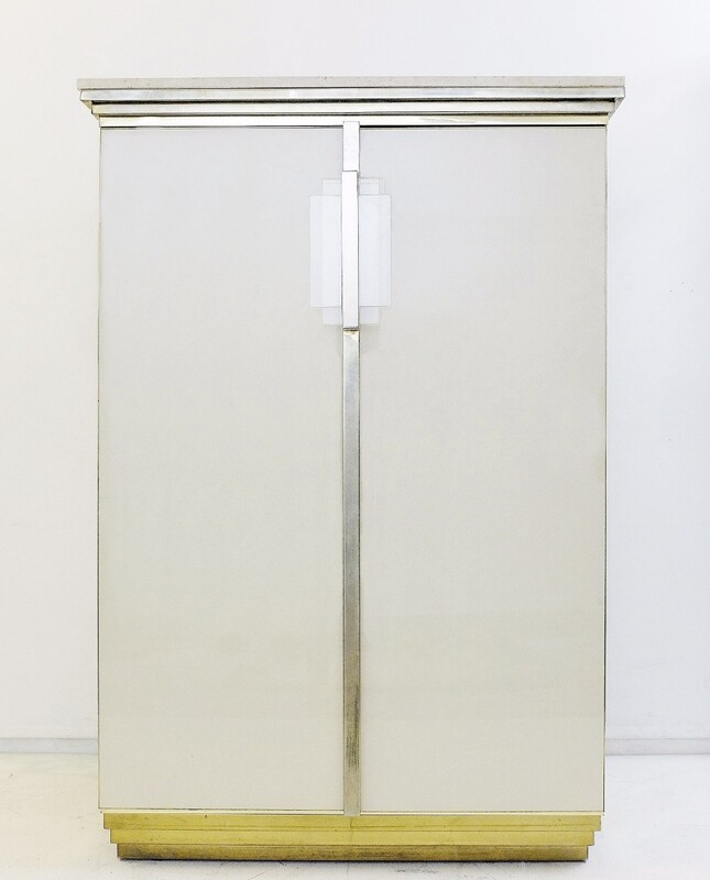 Brass, travertine and Glass Cabinet by Belgo Chrome, Belgium, 1970s