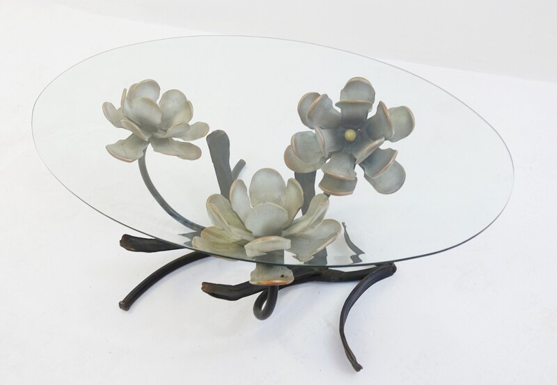 Bronze Flower Base Coffee Table