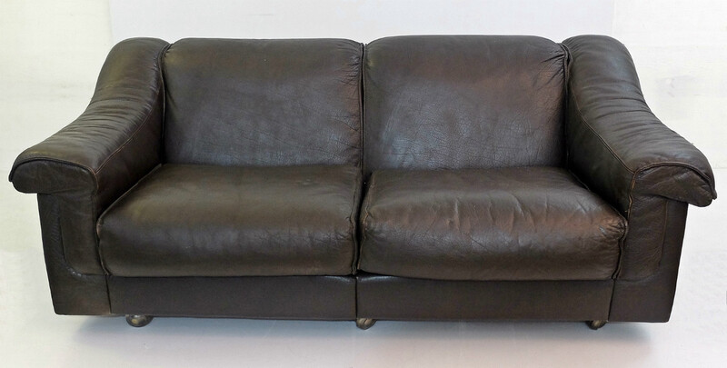Brown Leather 2 Seater Sofa by Vatne Mobler