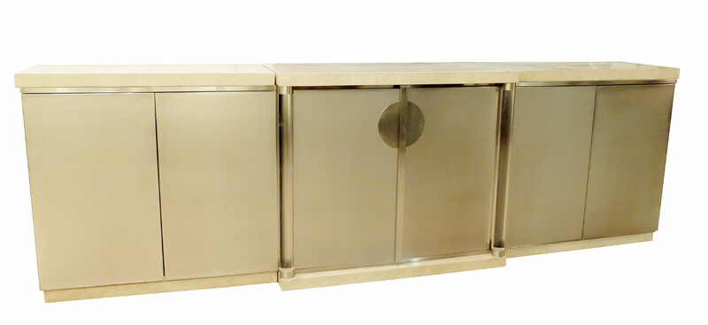 brushed chrome and travertine sideboard