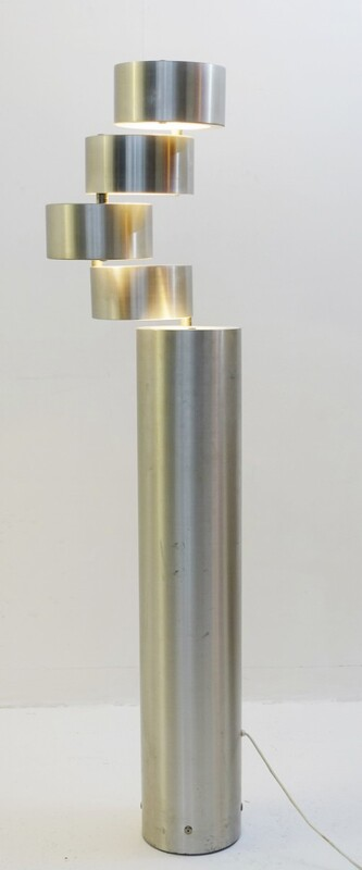 Brushed Metal Floor Lamp by Stilux, Milano 1972 - a pair available