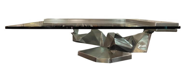 Brushed Stainless Steel sculptural Coffee Table