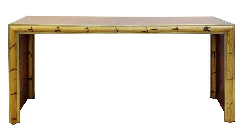Burled Walnut, bamboo and brass Console