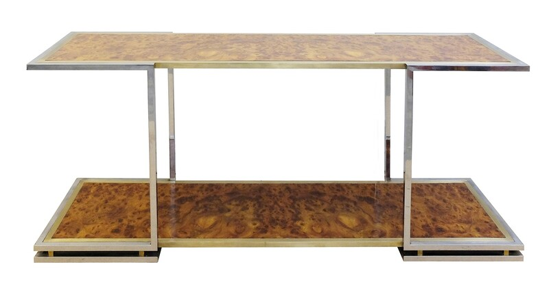 Burled Walnut Chrome and Brass Console
