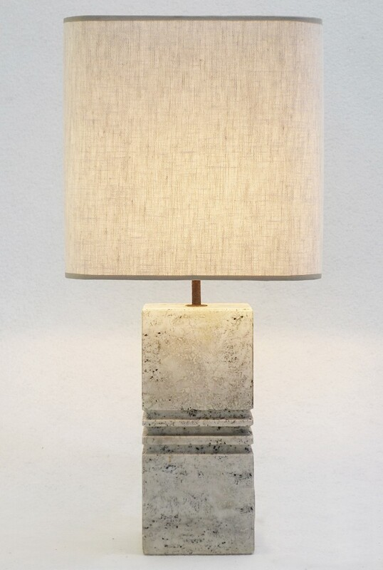 Carved Travertine Table Lamp - Circa 1970s
