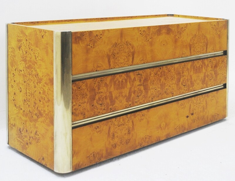 Chest of Drawers in Brass and Birch burl, circa 1970's