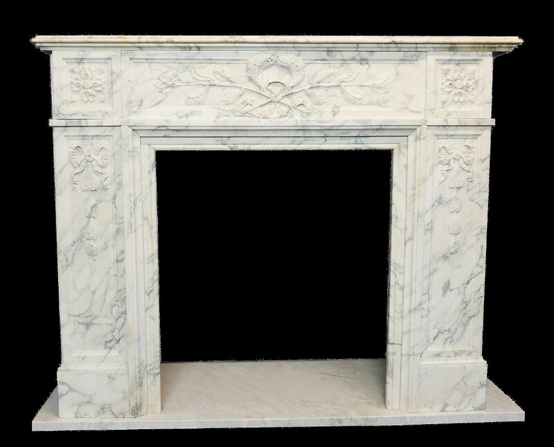 Chimney White Carrara Marble - 19th.C