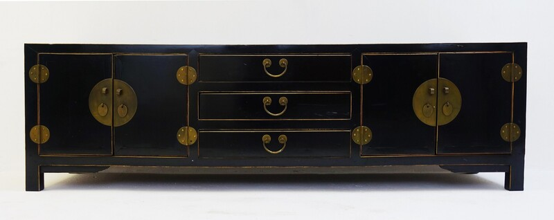Chinese Black Lacquered Sideboard Buffet