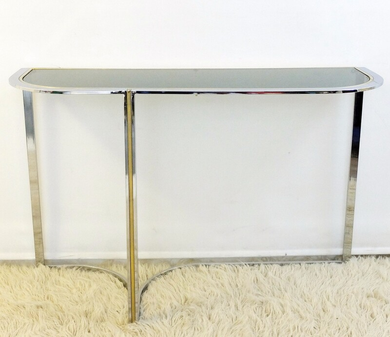 Chrome and brass Console Table