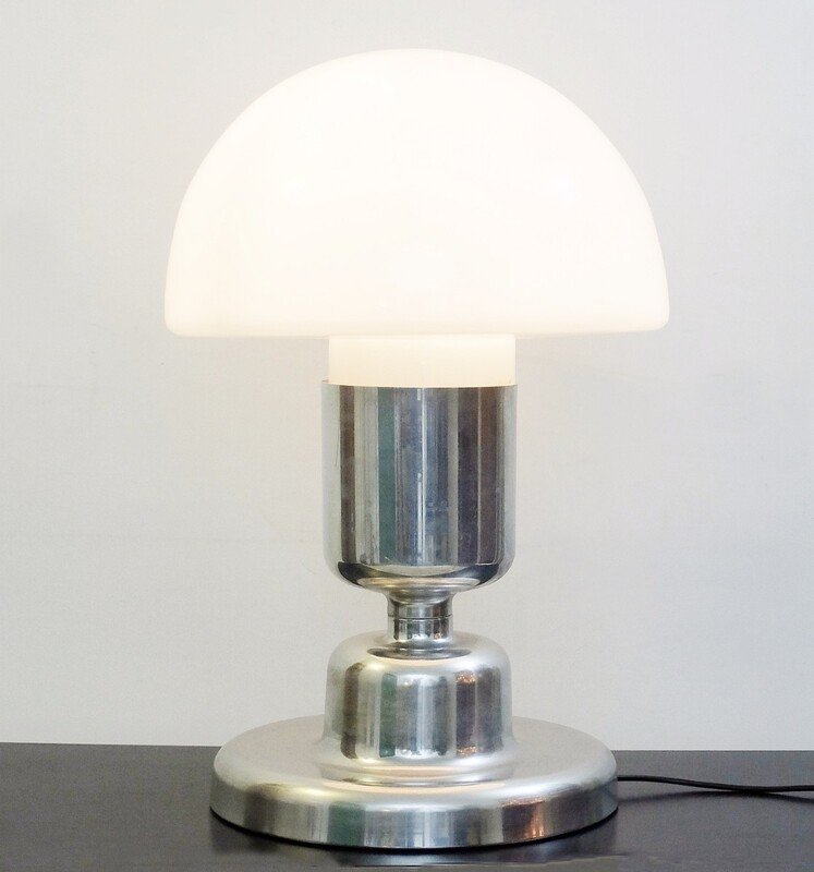 Chrome and glass Doria Leuchten Table Lamp - 1970s