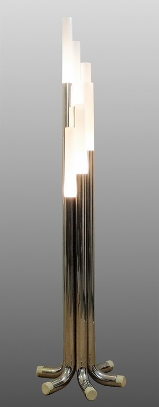 Chrome and opaline Tube Floor Lamp