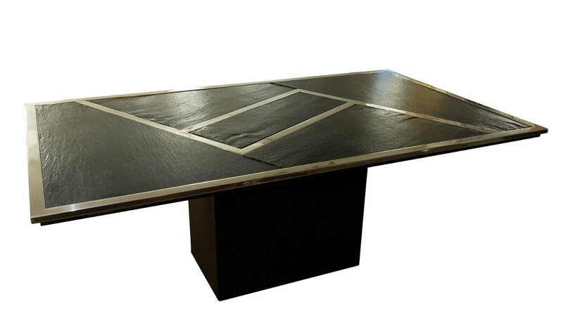 Chrome And Schist Dining Table