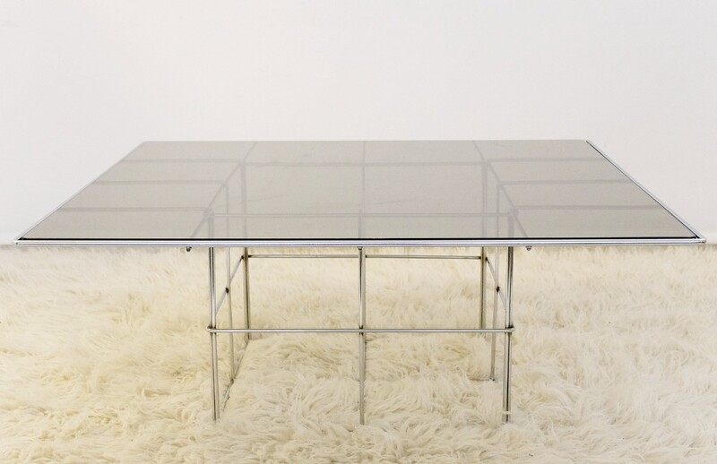Chrome And Smoked Glass Square Coffee Table