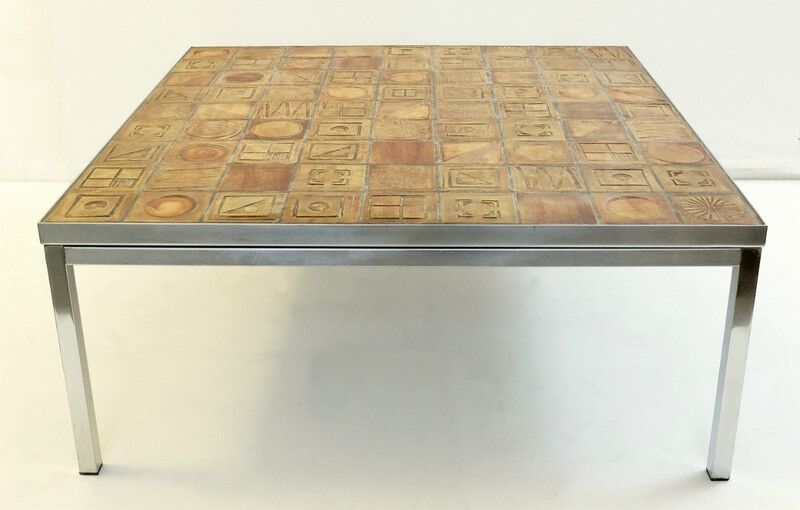 chrome and Terracotta Tiles coffee table