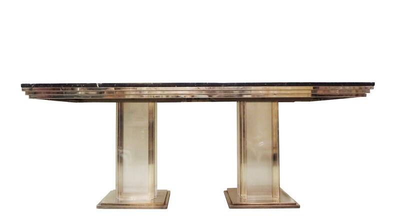 chrome & Black Marble Top + Chrome & lucite Base Dining Table