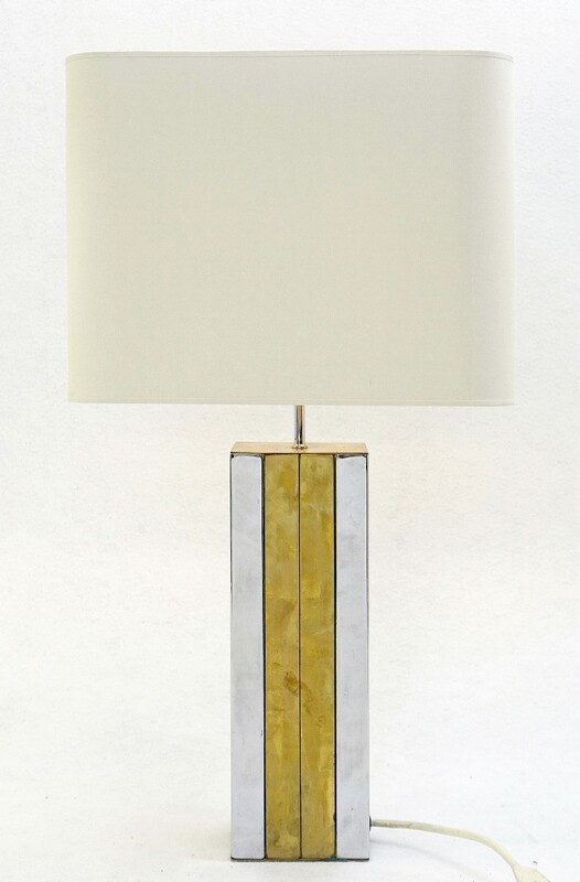 Chrome & brass table lamp