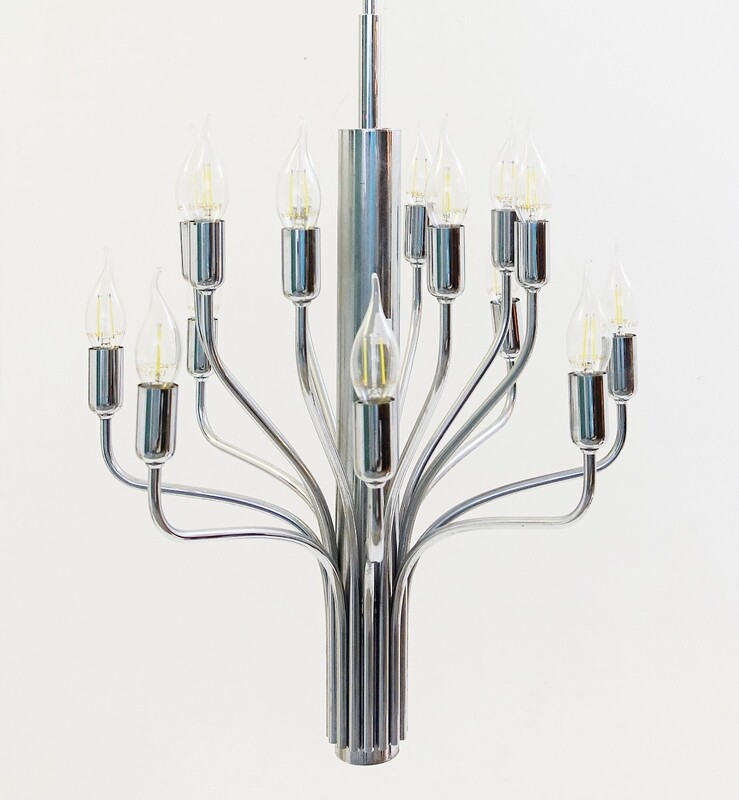 Chrome chandelier '70