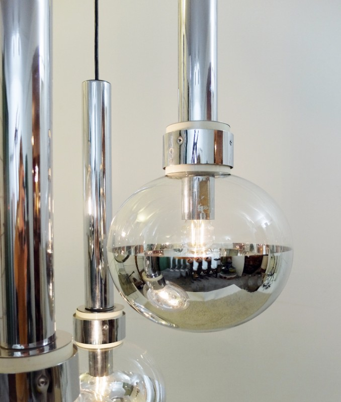 Chrome Glass Mirror Ball Ceiling Lighting Pendant