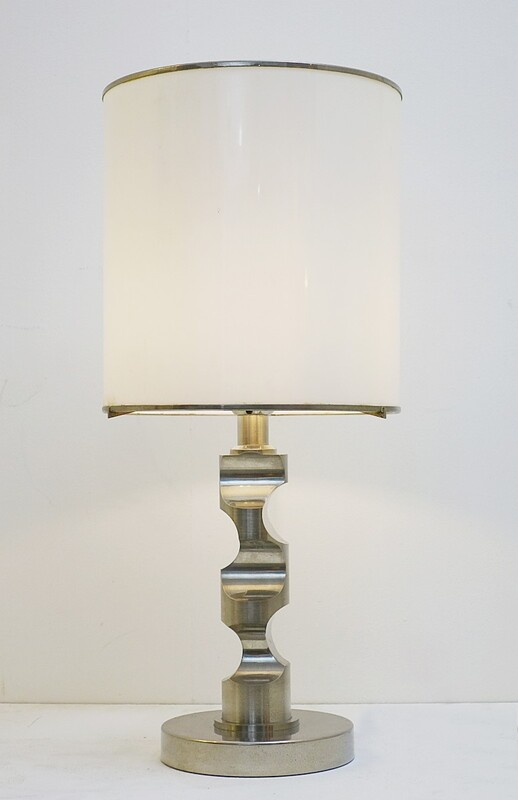 Chrome plated steel table lamp with plexiglass shade