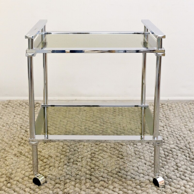 Chrome Smoked Glass Rolling Tea Cart