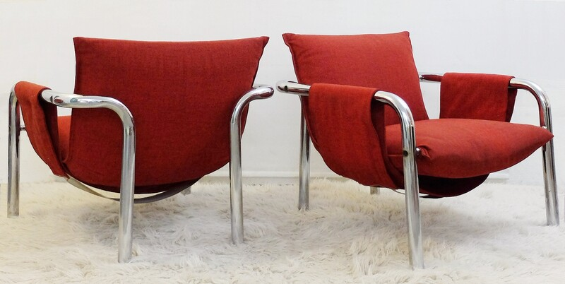 Chrome tubular frame armchair - 1 available