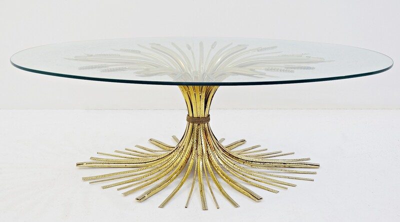 Coco Chanel Style Gilt Metal large Coffee Table