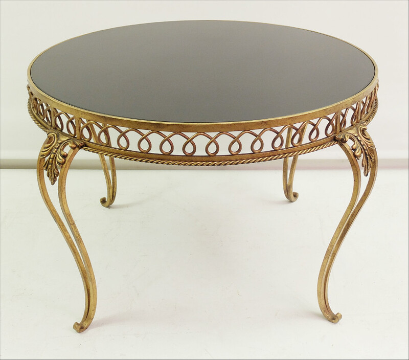 Coffee Table -  Gold Metal & Black Glass
