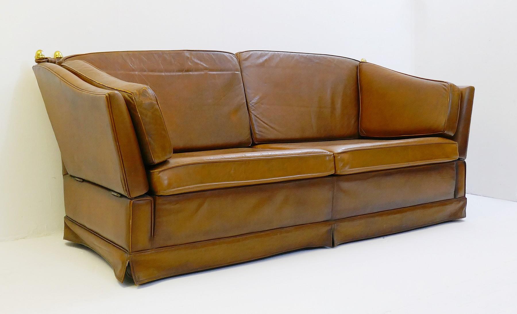 Astonishing Cognac Leather Sofa In The Style Of Maison Jansen Via Bralicious Painted Fabric Chair Ideas Braliciousco