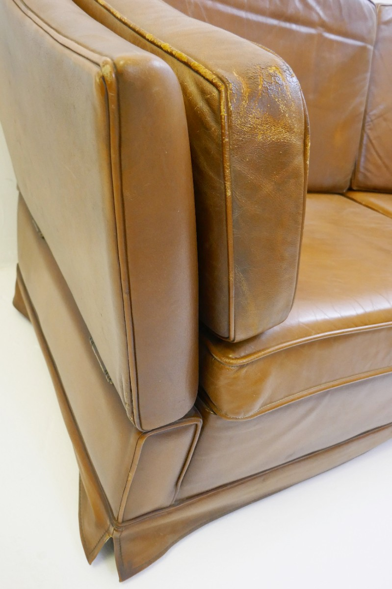 Fantastic Cognac Leather Sofa In The Style Of Maison Jansen Via Bralicious Painted Fabric Chair Ideas Braliciousco