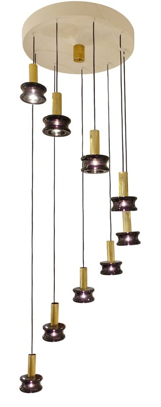 Contemporary glass suspension - Belgian Creation Signed