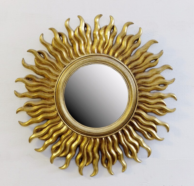 Convex Mirror on Gilded Resin Sunburst frame
