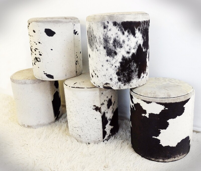 Cowhide Pouf Ottoman - 5 available