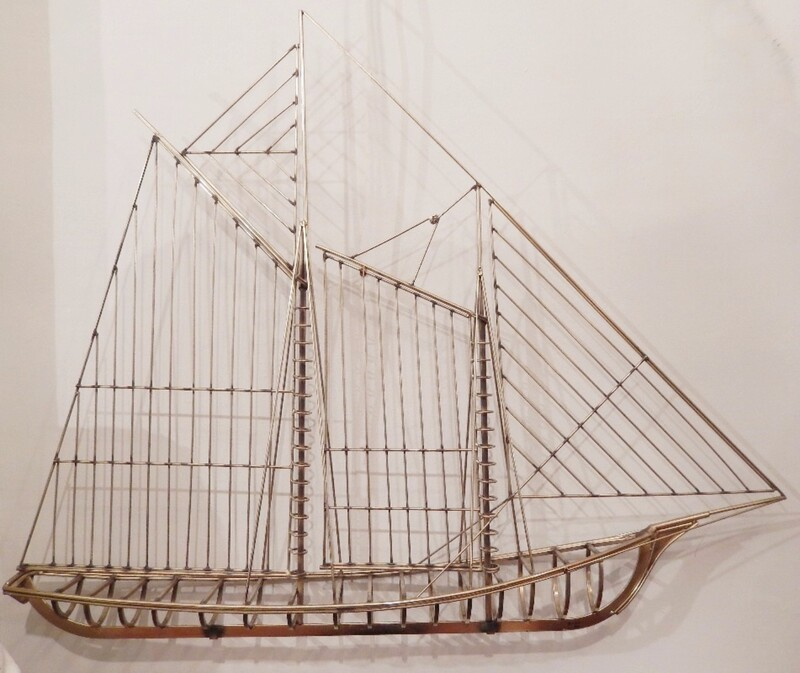 Curtis Jere Large Brass Ship Sculpture Signed, 1976
