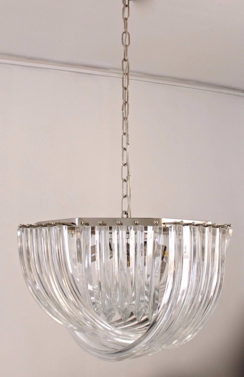 Curvati Murano Chandelier By Carlo Nason For Crystal