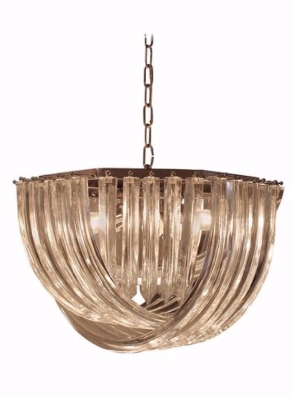 Curvati Murano Chandelier By Carlo Nason For Crystal Triedri