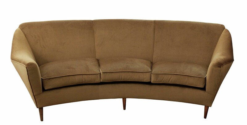 Curved 3 Seater Italian Sofa - Newly Upholstered In