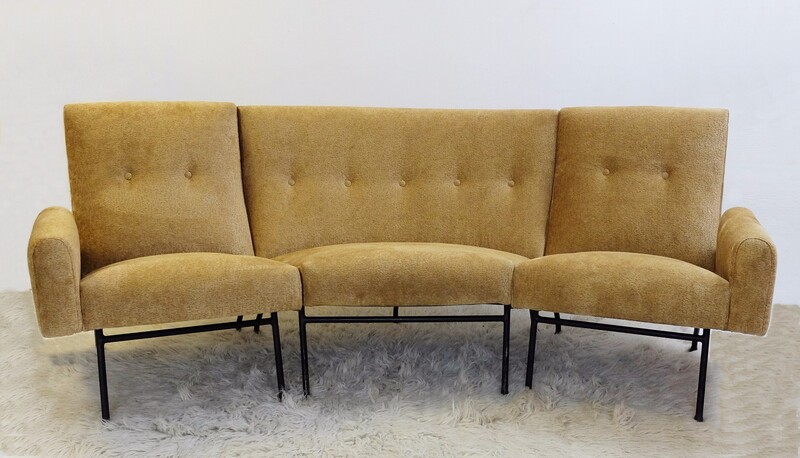 Curved sofa by Louis Paolozzi for Zol - New Upholstered