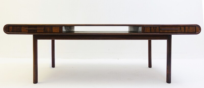Danish 1960s Rosewood Coffee Table with Two Drawers in the style of  E.W. Bach